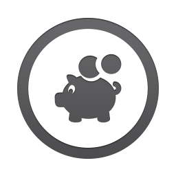 Piggy bank in a circle icon