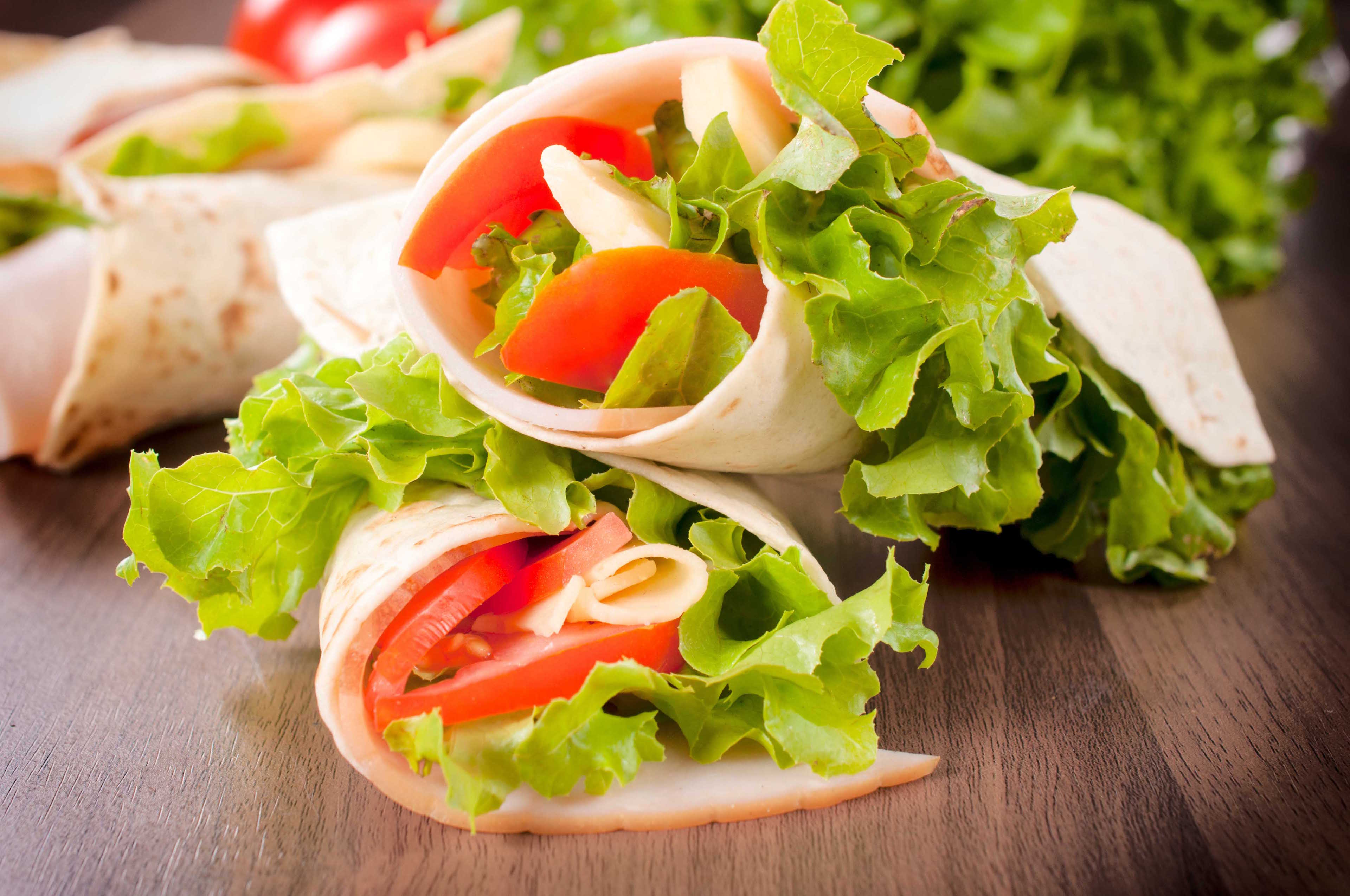 Wrap sandwiches with vegetables